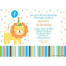 Baby Animals 1st Birthday Boy Personalized Invitation (each)
