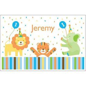 Baby Animals 1st Birthday Boy Personalized Placemat (Each)