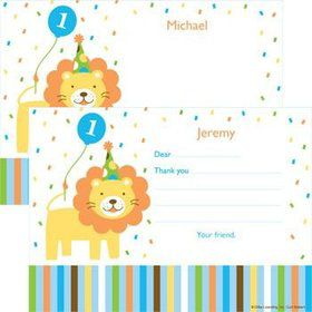 Baby Animals 1st Birthday Boy Personalized Thank You Note (each)