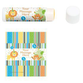 Baby Animals 1st Birthday Girl Personalized Lip Balm (12 Pack)