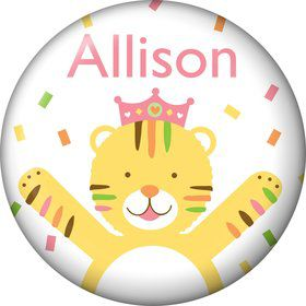 Baby Animals 1st Birthday Girl Personalized Mini Button (Each)