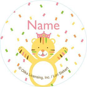 Baby Animals 1st Birthday Girl Personalized Mini Stickers (Sheet of 24)