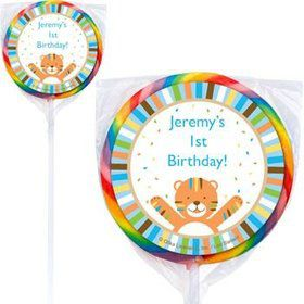 Baby Animals 1st Boy Personalized Lollipops (pack of 12)
