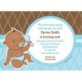 Baby Boy - African American Personalized Invitation (each)