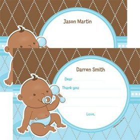 Baby Boy - African American Personalized Thank You Note (each)