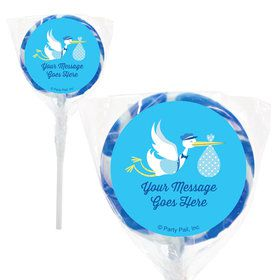 "Baby Boy Stork Personalized 2"" Lollipops (20 Pack)"