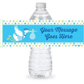 Baby Boy Stork Personalized Bottle Label (Sheet of 4)