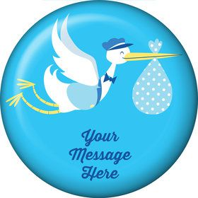 Baby Boy Stork Personalized Button (Each)