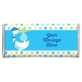 Baby Boy Stork Personalized Candy Bar Wrapper (Each)