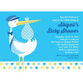 Baby Boy Stork Personalized Invitation (Each)