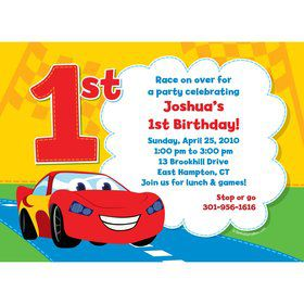 Baby Cars Too Personalized Invitation (Each)