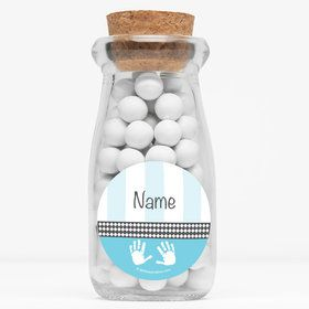 "Baby Feet Blue Personalized 4"" Glass Milk Jars (Set of 12)"