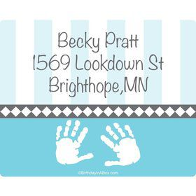 Baby Feet Blue Personalized Address Labels (Sheet of 15)