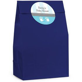 Baby Feet Blue Personalized Favor Bag (Set Of 12)