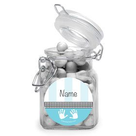 Baby Feet Blue Personalized Glass Apothecary Jars (12 Count)