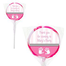 "Baby Feet Pink Personalized 2"" Lollipops (20 Pack)"