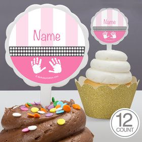 Baby Feet Pink Personalized Cupcake Picks (12 Count)