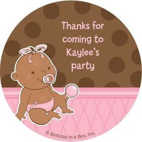 Baby Girl - African American Personalized Stickers (sheet of 12)