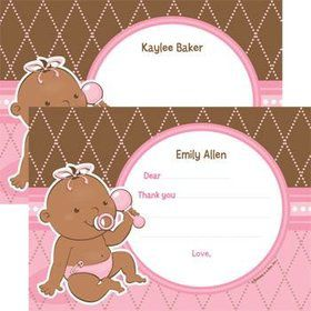 Baby Girl - African American Personalized Thank You Note (each)