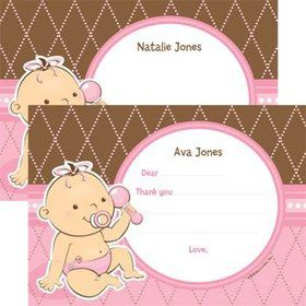 Baby Girl Personalized Thank You Note (each)