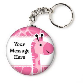"Baby Girl Safari Personalized 2.25"" Key Chain (Each)"