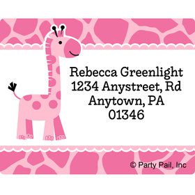 Baby Girl Safari Personalized Address Labels (Sheet of 15)