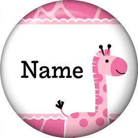 Baby Girl Safari Personalized Mini Button (Each)