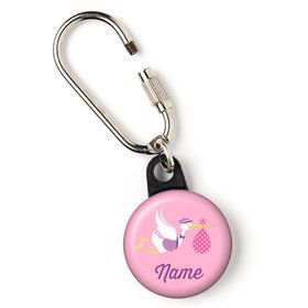"Baby Girl Stork Personalized 1"" Carabiner (Each)"