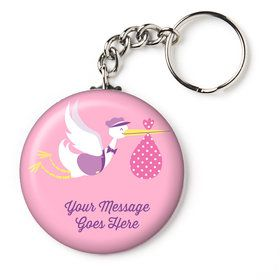 "Baby Girl Stork Personalized 2.25"" Key Chain (Each)"