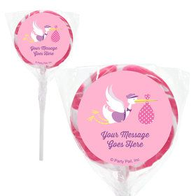 "Baby Girl Stork Personalized 2"" Lollipops (20 Pack)"