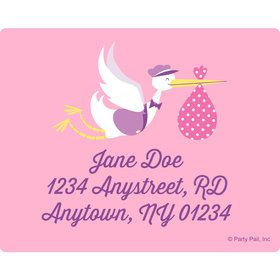 Baby Girl Stork Personalized Address Labels (Sheet of 15)