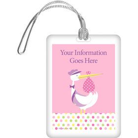Baby Girl Stork Personalized Bag Tag (Each)