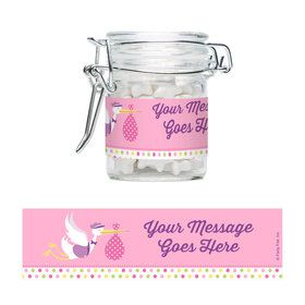 Baby Girl Stork Personalized Glass Apothecary Jars (12 Count)