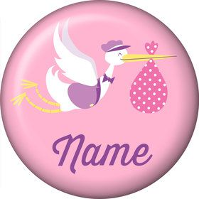 Baby Girl Stork Personalized Mini Button (Each)
