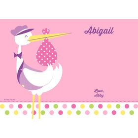 Baby Girl Stork Personalized Thank You (Each)