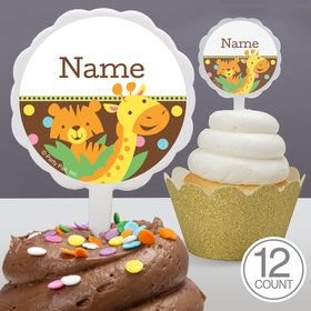Baby Jungle Personalized Cupcake Picks (12 Count)