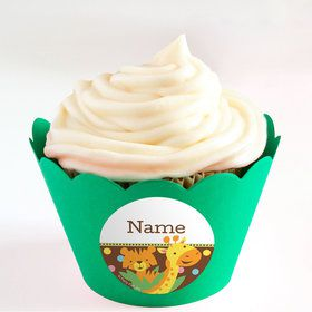 Baby Jungle Personalized Cupcake Wrappers (Set of 24)