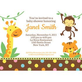 Baby Jungle Personalized Invitation (Each)