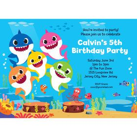 Baby Shark Family Personalized Invitation