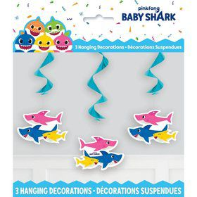 "Baby Shark Hanging 26"" Swirl Decorations (3ct)"