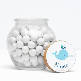 "Baby Whale Blue Personalized 3"" Glass Sphere Jars (Set of 12)"