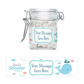 Baby Whale Blue Personalized Glass Apothecary Jars (12 Count)