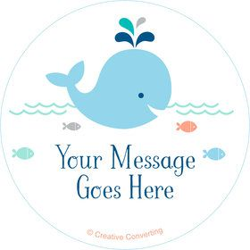 Baby Whale Blue Personalized Stickers (Sheet of 12)