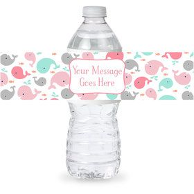 Baby Whale Pink Personalized Bottle Label (Sheet of 4)