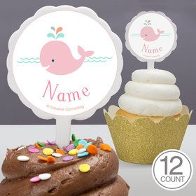 Baby Whale Pink Personalized Cupcake Picks (12 Count)