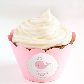 Baby Whale Pink Personalized Cupcake Wrappers (Set of 24)
