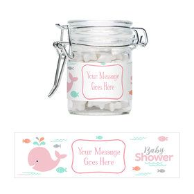 Baby Whale Pink Personalized Glass Apothecary Jars (12 Count)