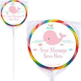 Baby Whale Pink Personalized Lollipops (12 Pack)