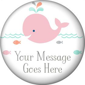 Baby Whale Pink Personalized Magnet (Each)