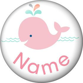 Baby Whale Pink Personalized Mini Button (Each)